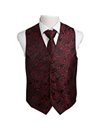 EGD2B.01 Gift Giving Paisley Microfiber Dress Tuxedo Vest Neck Tie Set By Epoint