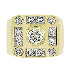 3.00 Carat Diamond Square Mens Ring in 14K Yellow Gold