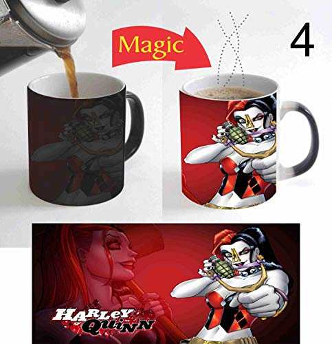 Beautiful Supervillain Harley Quinn Suicide Squad Movie 11 Oz Magic Mug Color Change Heat Reactive Coffee Mug for Superhero Movie Lovers Gift for Christmas New Year M075 -