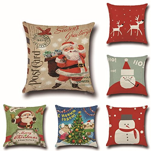 UChic 6Pcs Happy Christmas Cotton Series Blend Linen Pillow Cover Decorative Pillowcase Covers Cushion Case 18