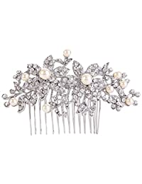 Ever Faith Silver-Tone Austrian Crystal Cream Simulated Pearl Graceful Redbud Flower Hair Comb
