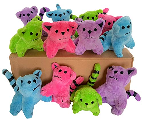 Dondor Plush Cats, Super Soft Plush Cats, Assorted Bright Colors (12 Piece Pack) -