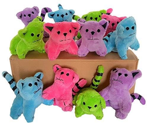 Dondor Plush Cats, Super Soft Plush Cats, Assorted Bright Colors (12 Piece Pack)