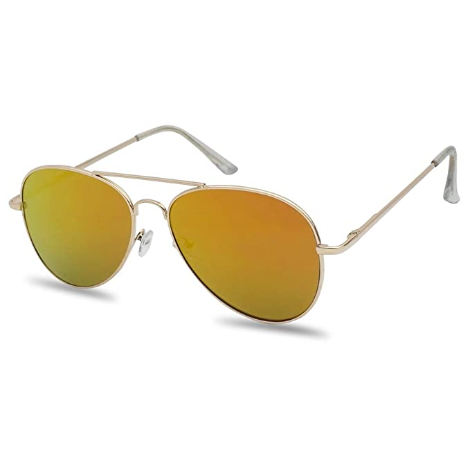 5b54dd413 Classic Full Metal Teardrop Flat Lens Color Mirrored Retro Aviator Sun  Glasses (Gold Frame,