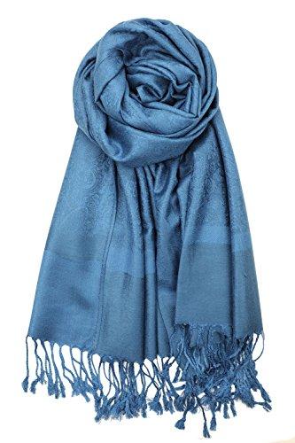 Achillea Two Tone Vintage Jacquard Paisley Pashmina Shawl Wrap Scarf (Cobalt - Jacquard Party Dress