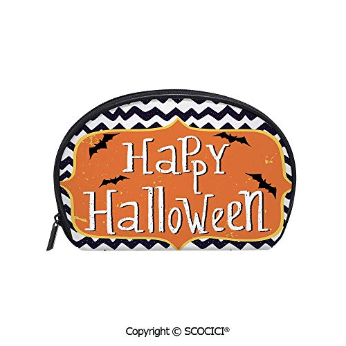 SCOCICI Polyester Printed Cosmetic Bag Storage Bag Cute Halloween Greeting Card Inspired Design Celebration Doodle Chevron Decorative Makeup Bag Toiletry -
