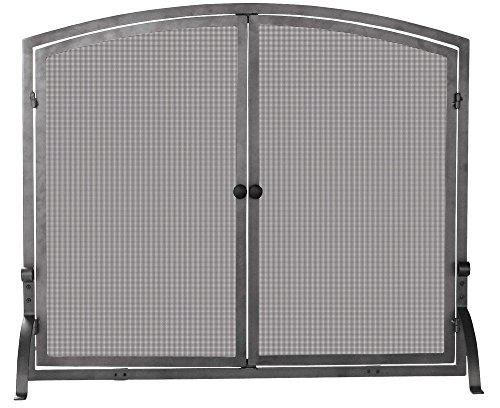 UniFlame Endless Summer S-1142 44'' Large Single Panel Screen With Doors, Old World Iron by Uniflame