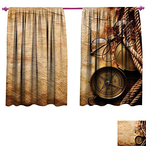 WinfreyDecor Compass Thermal Insulating Blackout Curtain Compass Rope and Glasses on Old Paper History Exploring Cartography Illustration Blackout Draperies for Bedroom W63 x L72 Brown Copper