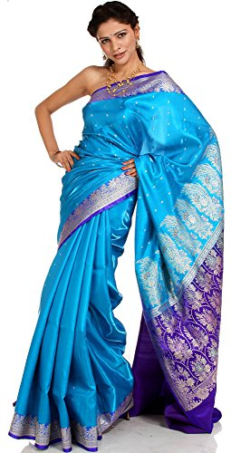 (Exotic India Valkalam Banarasi Sari with Golden Bootis and Brocaded Anchal - Color Turquoise and Blue)