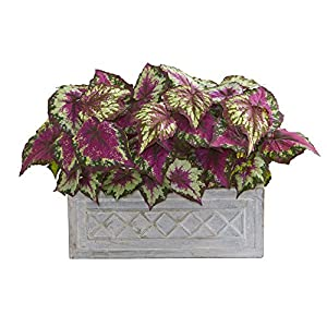 "Nearly Natural 8063 17"" Wax Begonia Stone Planter Artificial Plant Purple 34"