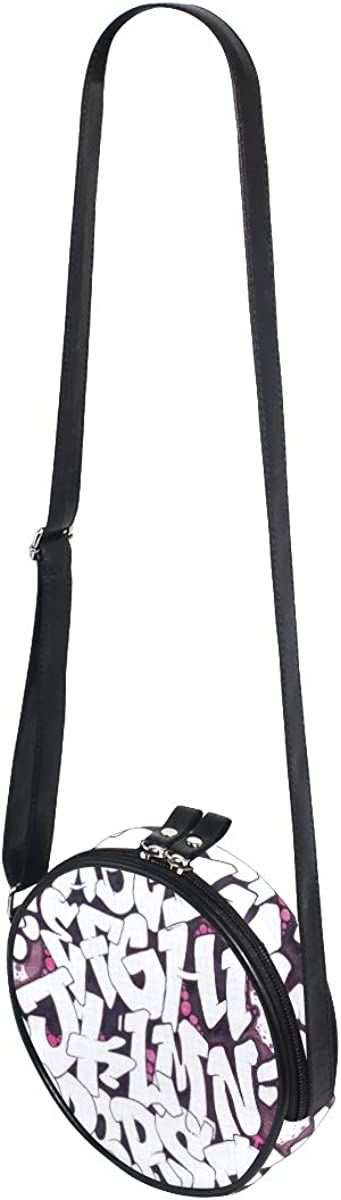 KEAKIA Graffiti Alphabet Round Crossbody Bag Shoulder Sling Bag Handbag Purse Satchel Shoulder Bag for Kids Women
