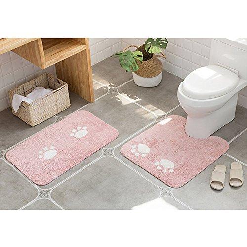 ELEOPTION Bath Mat Sets for Bathroom, 2 Piece Non Slip Bathroom Rug Set and Contour Mat Non-Slip Pedestal Super Absorbent Machine Wash (Pink) by ele ELEOPTION (Image #1)