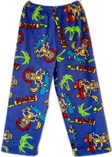 (Made With Love and Kisses Super Fuzzy, Super Cozy Novelty Print Plush Pants (Adult M/L, Royal Blue Cool Monkey))