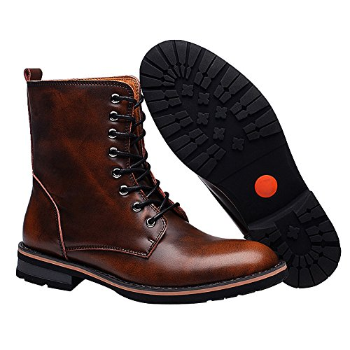 rismart Chunky fur Ankle Lace Winter Mens Stylish Boots Boots Brown Up Low Pointed Heel Toe Warm Lining Chukka 11rTSq