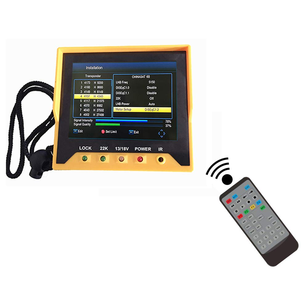 Roeam 3.5 Inch Satellite Finder, DVB-S/S2 Fast Tracking, Full HD Digital Satellite TV Receiver Finder Meter MPEG4 Modulator with Remote Control - KPT-356H