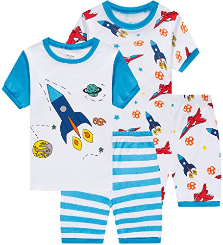 - shelry Summer Boys Rocket Pajamasb 4 Pieces Baby Airplane Clothes Toddler Kids Short Pj Set 6t