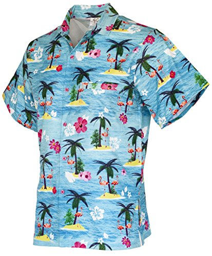 Funny Guy Mugs Mens Flamingo Hawaiian Print Button Down Short Sleeve Shirt, Large