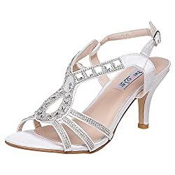 White-2 Strappy Heel Sandal With Rhinestones