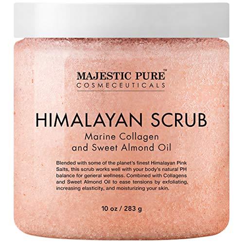 MAJESTIC PURE Himalayan Salt Body Scrub with Collagen and Sweet Almond Oil – Exfoliating Salt Scrub to Exfoliate…