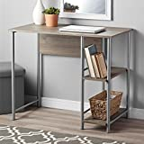 Sleek Contemporary Metal Frame Work Desk with Two Side Shelves, Middle Shelf Can be Removed to Make Space for a Computer, Rustic Oak + Expert Home Guide by Love US