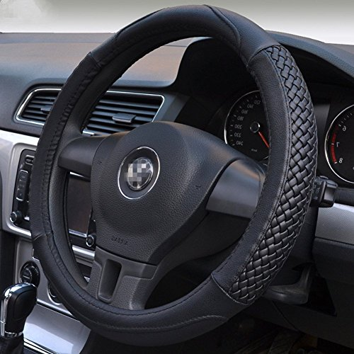 (Moyishi Top Leather Steering Wheel Cover Universal Fit Soft Breathable Steering Wheel Wrap (Black))