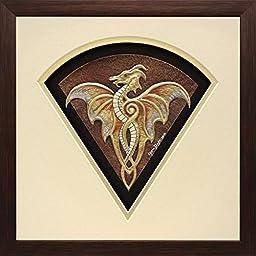 Fan Dragon - Cast Paper - Fantasy art -Gold Dragon - Drake - Draco - winged dragon - paper dragon - wall art