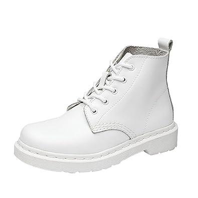 Yiiquan Damen Klassisch Kunstleder High-Top Martin Stiefel Schuhe Schnürsenkel Gummi Stiefeletten (Weiß, CN 43 / EU 42)