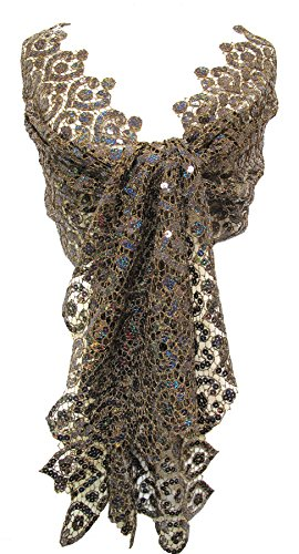 Cut Metallic Lace Sequin Scarf Stole Wrap Shawl Table Runner Dark Bronze Brown by Steel Paisley