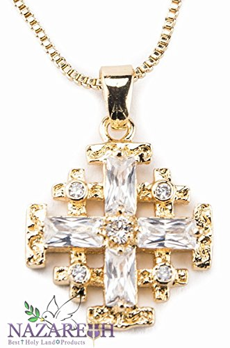 Amazing Natural White Crystals Gold Plated Jerusalem Cross Pendant Necklace Holy Land by Holy Land Gifts