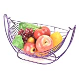 stainless steel swinging basket vegetables fruits bowl with stand swing cradle hanging fruit container art dryer organizer vegetable rack storage tray holder table artificial display creative basket