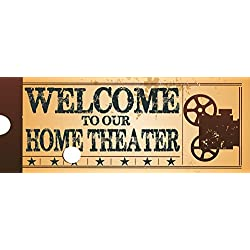 Welcome to Our Home Theatre Metal Sign, Retro Ticket to the Movie, Media Room, Family Room, Bar, Den Decor