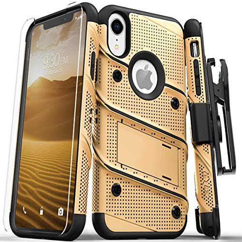 生むのホスト旋回Zizo Bolt Case For iPhone XR ボルト ケース カバー 耐衝撃 スタンド ホルスター 付き 強化ガラス 極薄 0.33mm 硬度 9H 液晶 保護フィルム 付属 【正規代理店品 】 ゴールド/ブラック