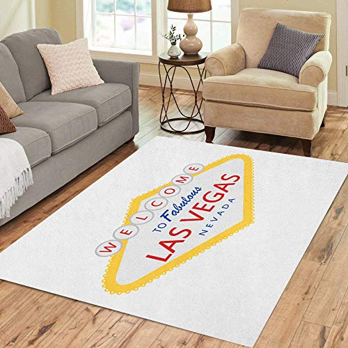 Pinbeam Area Rug Welcome to Fabulous Las Vegas Nevada Sign Illumination Home Decor Floor Rug 2' x 3' Carpet ()