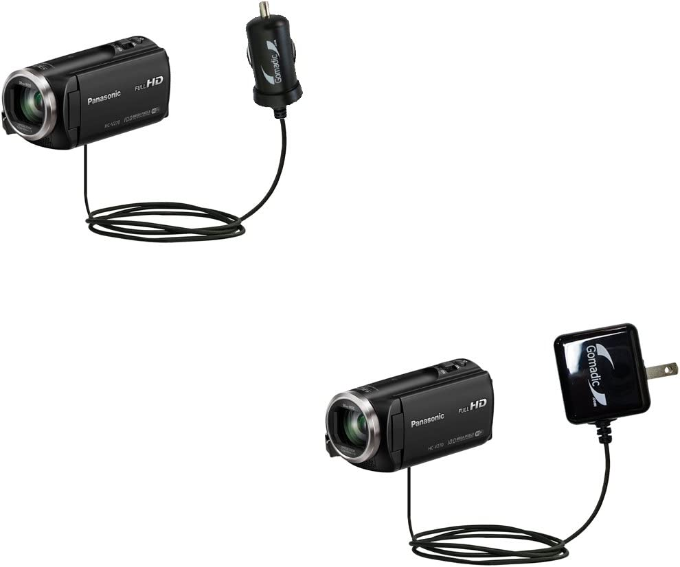 The Essential Gomadic Car and Wall Accessory Kit Designed for The Panasonic HC-V260 HC-V270-12v DC Car and AC Wall Charger Solutions with TipExchange