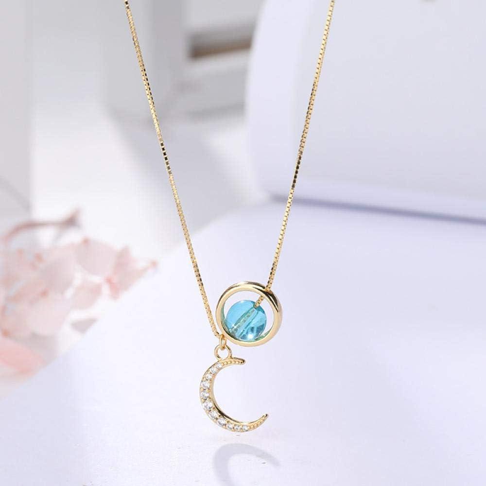 s9Collar de Plata esterlina Unicornio Mujer Piedra de Luna Japonesa y Coreana Cadena de clavícula de Diamantes Accesorios Simples para Estudiantes Colgante de Media Luna