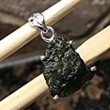 Natural Green Czech Republic Moldavite 925 Solid Sterling Silver Healing Stone Pendant 25mm Long