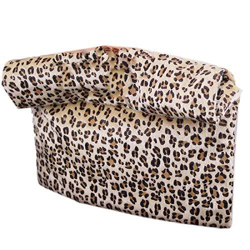 (Leopard Faux Pony Horse Hair Fur Foldover Convertible Envelope Clutch Purse Tan)