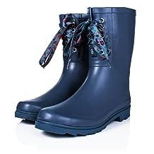 SPYLOVEBUY ANTONIA Flat Festival Wellies Wide Calf Rain Calf Boots