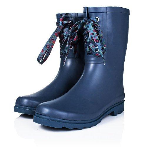 Flat Festival Wellies Wide Calf Rain Calf Boots Blue Rubber US 8