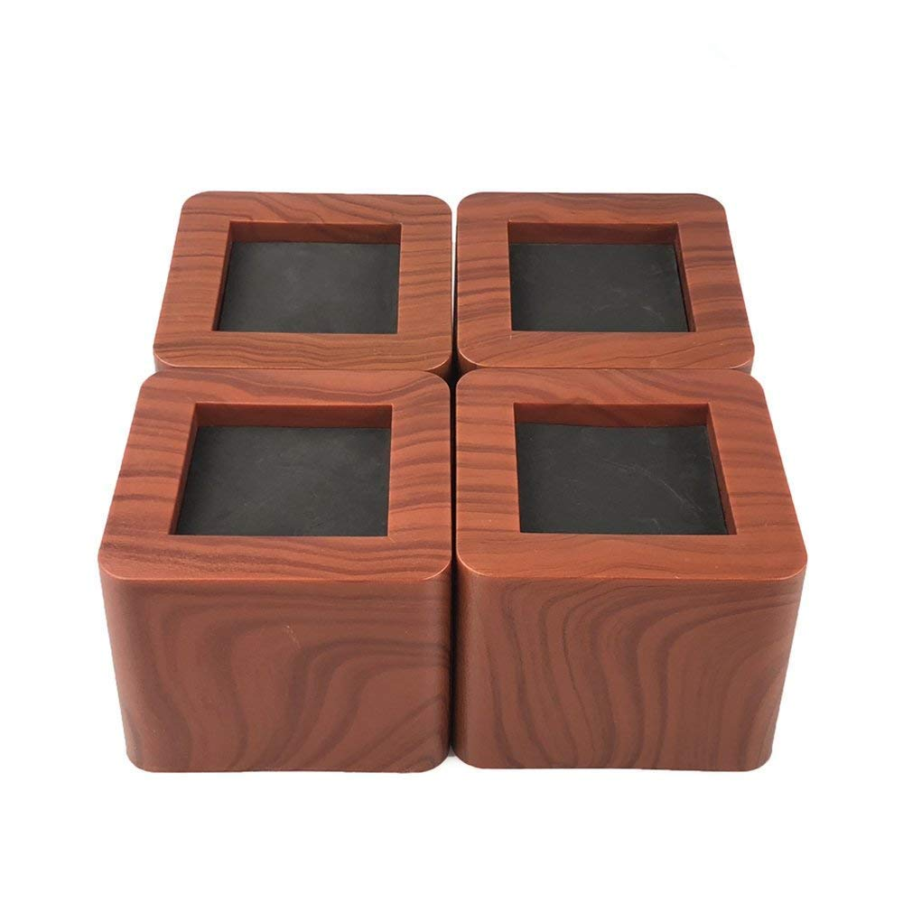 Aspeike 4PCS Bed Risers 3 Inch/Heavy Duty Wooden Color Furniture Riser/Dark Brown Sofa Risers or Table Risers or Chair Risers