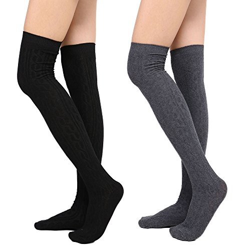 Womens Winter Kabel stricken über Knee High Tigh hohe Socken 1-3 Paar 2 schwarz + dk.gry