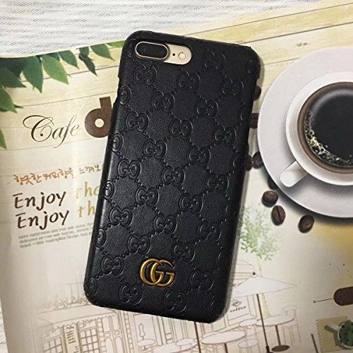 RYANA iPhone7/8 Plus -US Fast Deliver - Luxury Elegant PU Leather Monogram Classic Style Case Cover for Apple iPhone 7 Plus iPhone 8 Plus Only (GG Black)