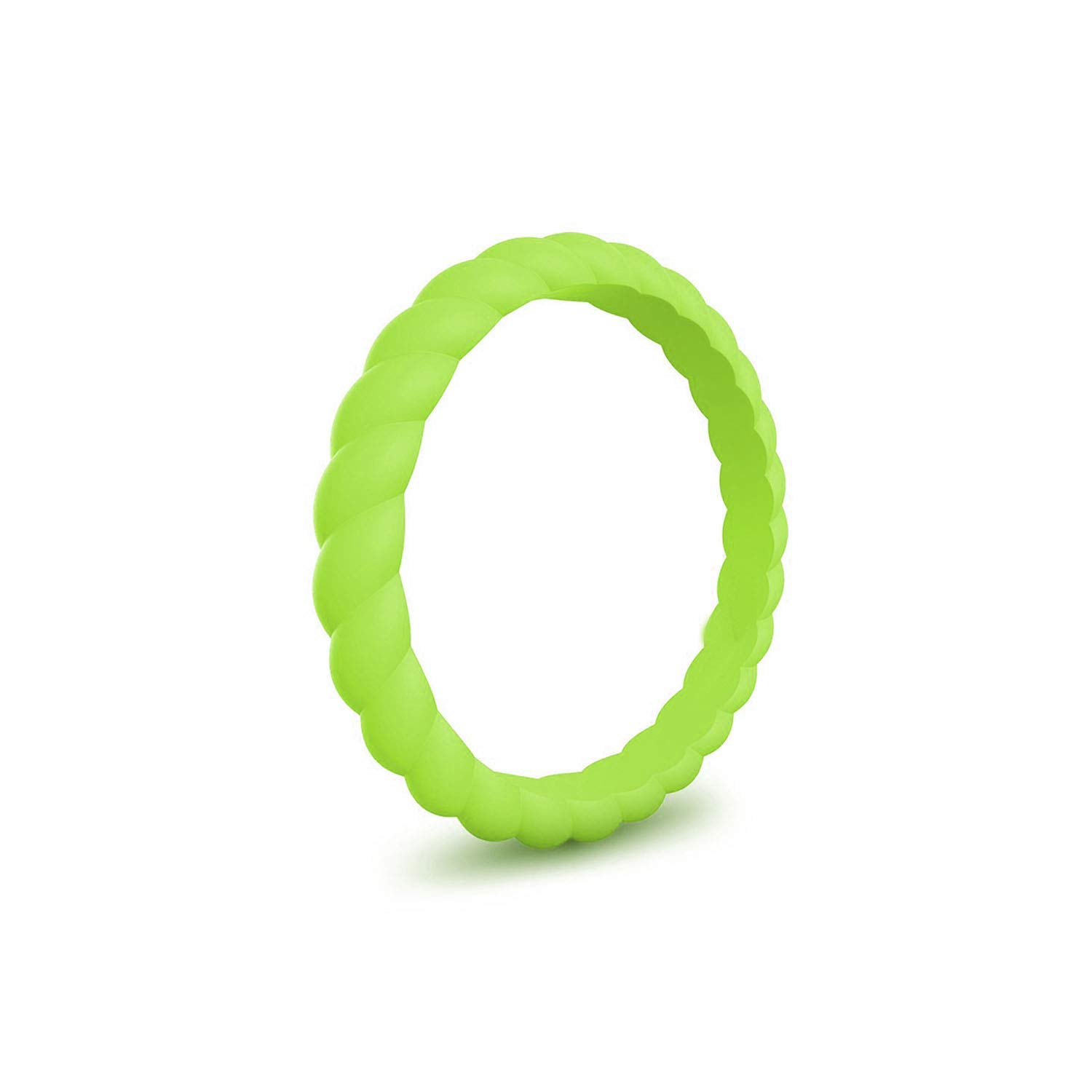 Ytb-home Silicone Rings Thin And Braided Hypoallergenic Flexible Twist Rubber Finger Ring For Women Wedding Rings,6,Grass Green