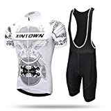 2017 Men's Short Sleeve Cycling Jersey Ropa Ciclismo Bike Maillot Shirt Bib Shorts Bicycle Full Set Clothing AC609 (Bib shorts set, S)