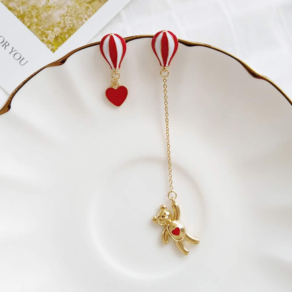 MIXIA Cute Brushed Hot Air Balloon Stud Earrings Asymmetrical Bear Heart Drop Dangle Jewelry