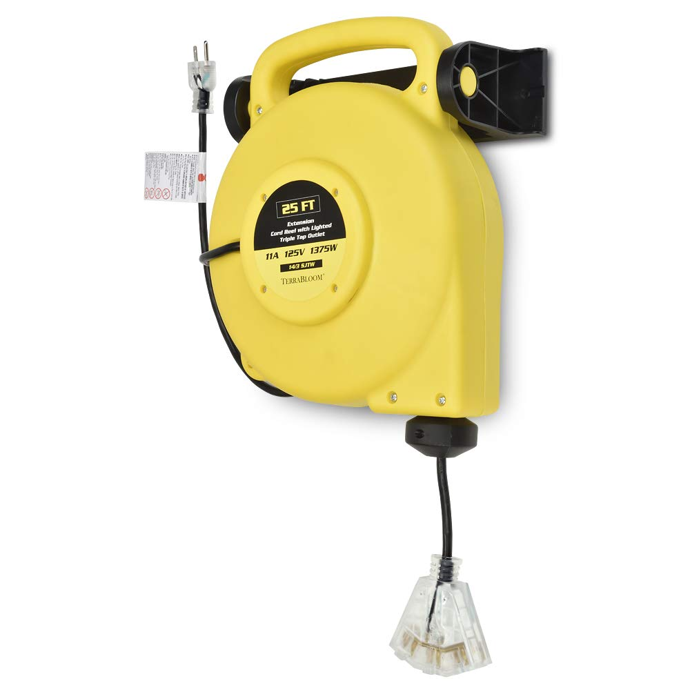 25 Ft Retractable Extension Cord Reel - Mountable & Portable Power Cord Reel with 3 Electrical Outlets - 14/3 SJTW Heavy Duty Yellow Case and Black Cable With Lighted Power Block - Perfect for