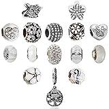 N'joy 16-Piece Mixed Crystal Rhinestone Charm Beads,Clap,Stoper,Dangle Pendant Fit European Charm Bracelet,April...