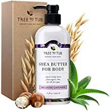 Organic Lotion for Dry Skin—the Only Organic Body Lotion w/ Organic Cocoa Butter, African Shea Butter & Colloidal Oatmeal for Severe & Very Dry Skin, Relaxing Lavender, 11oz—Tree To Tub