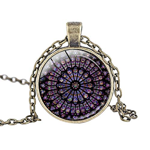 - lotus.flower Rose Window Stained Glass Notre Dame de Paris Cathedral Pendant Necklace Chain Jewellery (Gold)