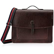 """TORTOISE Men's Authentic Buffalo Leather Messenger Bag, Briefcase, Satchel Bag, Laptop Bag 17.5 (width)x4 (depth)x15.5 (height) inches Dark Brown,Fits in 15.5"""" laptop"""